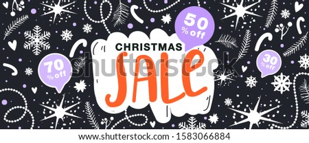 Christmas sale banner. Floral elements, snowflake, star and other decoration on black background. Design for invitation, website, poster, banner, coupons etc. Vector. #1583066884