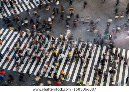The world's busiest pedestrian crossing, Shibuya crossing in Tokyo. Up to 2,500 pedestrians will cross at one time. #1583066887
