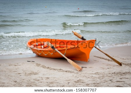 Lifeboat on the Baltic seashore #158307707