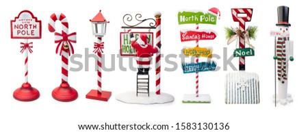 Set of Christmas Signs isolated on white background, Clipping path included
