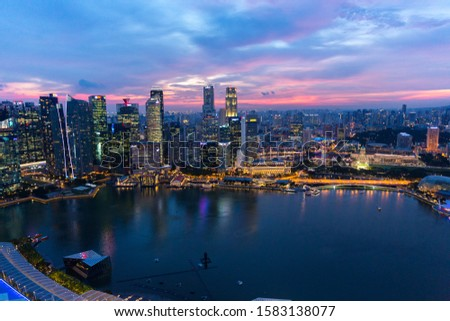 Twilight beautiful Singapore city from top view  #1583138077