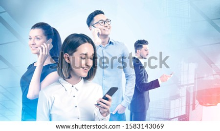 Team of diverse business people using smartphones in abstract city. Concept of communication, corporate lifestyle and technology. Toned image double exposure #1583143069
