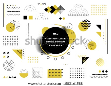 Abstract yellow and black geometric shape of modern elements cover design. Use for poster, artwork, template design, ad, print. illustration vector eps10 #1583161588