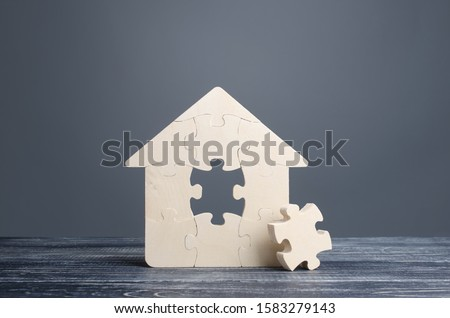 Puzzle house with a missing piece. The acquisition or construction comfortable dream home. Mortgage loan purchase real estate. Arrangement premises repair. Availability and cheapness. Finish building #1583279143