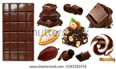 Realistic Chocolate. Chocolate bar, candy, pieces, shavings, cocoa beans and hazelnuts. Miscellaneous 3d vector objects. Food icon set Royalty-Free Stock Photo #1583282932