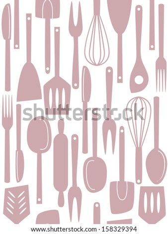 Illustration of kitchen utensils and cutlery, seamless pattern #158329394