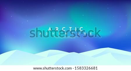 Vector minimalist landscape. Flat design. Website or game template. Polar light at Aqua Menthe trendy color. Pastel soft colors. White mountain. North. Aurora borealis. Arctic bright wallpaper. #1583326681