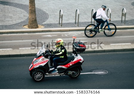 Tel Aviv Israel December 08, 2019 View of a Israeli motorcycle ambulance rolling in the streets of Tel Aviv in the afternoon #1583376166