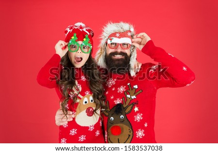 Fatherhood concept. Family wear winter sweaters. Having fun. Christmas memories. Family values. Dad and daughter celebrate new year. Family holiday. Happy family. Small girl and cheerful father man. #1583537038