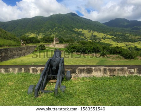 Brimstone Hill Fortress National Park is a UNESCO World Heritage Site, a well-preserved fortress on a hill on the island of St. Kitts Eastern Caribbean  #1583551540