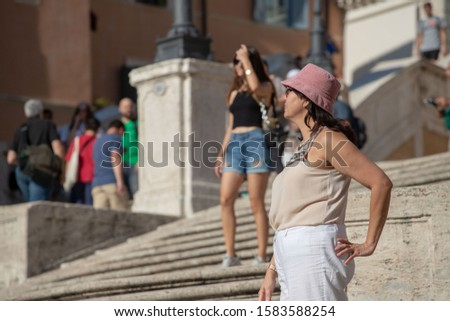Rome. Italy. 9. 0 4. 2019. girls are photographed on the Spanish steps #1583588254
