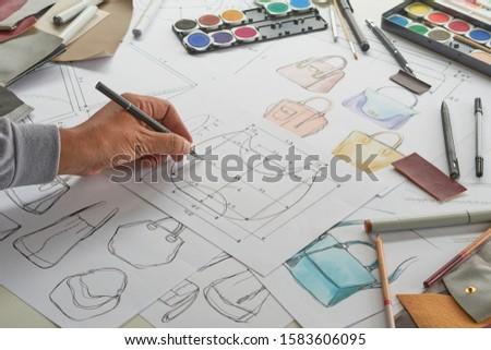 Designer stylish sketch Drawn design template pattern made leather clutch bag handbag purse Woman female Fashionable Fashion Luxury Elegant accessory.                                #1583606095