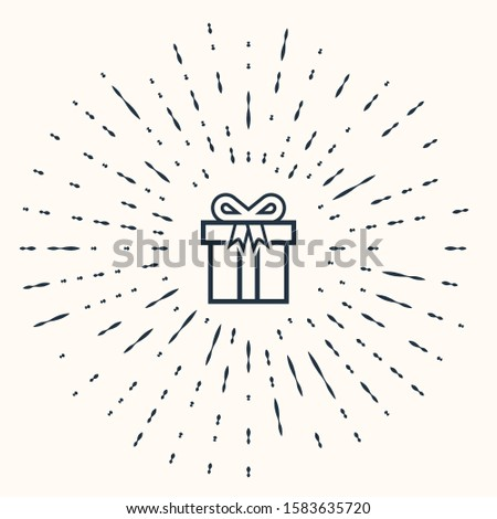 Grey Gift box icon isolated on beige background. Abstract circle random dots.  #1583635720