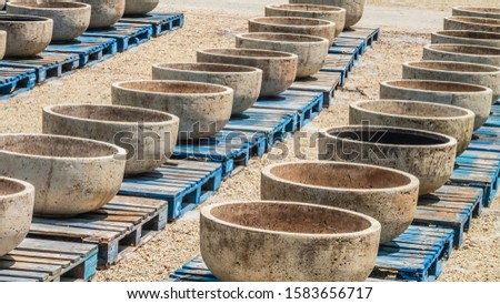 Rows of large, empty, bowl-shaped planters on blue wooden pallets in a nursery on a sunny day in summer, for horticultural motifs and for concepts of capacity, project planning, readiness #1583656717