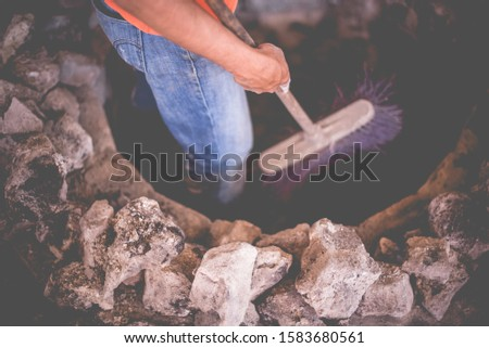 """""""Barbacoa"""" refers to meats or whole sheep or whole goats slow-cooked over open fire or, more traditionally, in a hole dug in the ground covered with agave (maguey) leaves #1583680561"""