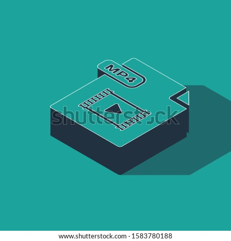 Isometric MP4 file document. Download mp4 button icon isolated on green background. MP4 file symbol.  Vector Illustration