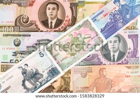 North Korea Won banknotes background. High resolution vintage photo of North Korean bill 2, DPRK money close-up macro.