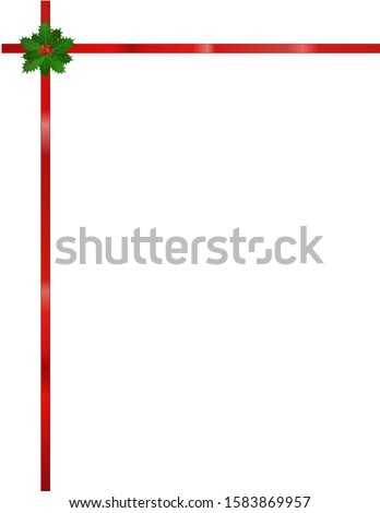 This is a festive design of holly with red ribbon, on a white background.  Multiple uses as stationary, clip art, border, frame, on webpage, etc.