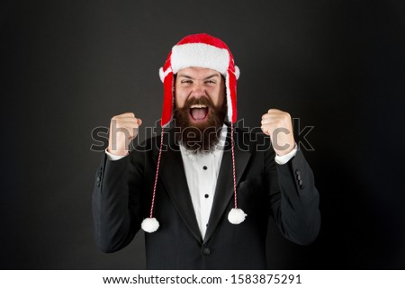Success gesture. Business santa wish you financial growth. Business corporate. Man with beard in smart suit and Santa hat. Businessman Santa in jacket. Christmas party concept. Feeling warmth. #1583875291