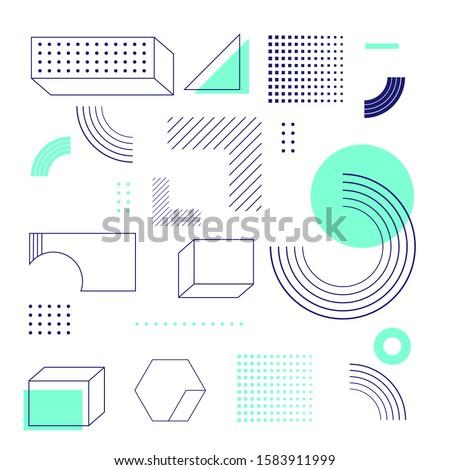 Universal trend halftone geometric shapes set juxtaposed with bright bold Aqua Menthe color elements composition. Design elements for Magazine, leaflet, billboard, sale, flyer, brochure - vector #1583911999