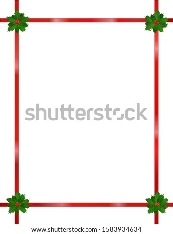 This is a festive design of holly with ribbon on a white background.  Multiple uses as stationary, clip art, border, frame, on webpage, etc.