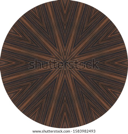 dark brown ebony round veneer panel with abstract centered grain trellis pattern