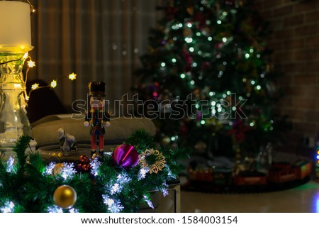 Christmas decoration Christmas tree wooden soldier and lights #1584003154
