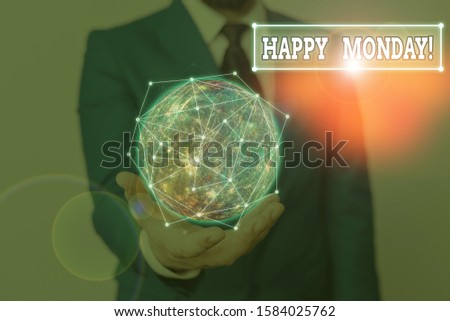 Word writing text Happy Monday. Business concept for telling that demonstrating order to wish him great new week Elements of this image furnished by NASA.