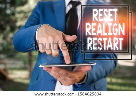 Conceptual hand writing showing Reset Realign Restart. Business photo text Life audit will help you put things in perspectives Businessman in blue suite with a tie holds lap top in hands. #1584025804