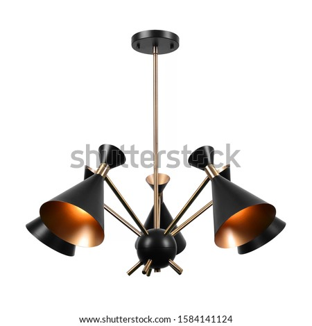 Matte Black with Antique Brass 5 Lights Chandelier Isolated on White Background. Modern Pendant Ceiling Light Fixture Conical Shape. Retro & Vintage Hanging Lights. Pendant Sconce Lighting Lamp #1584141124