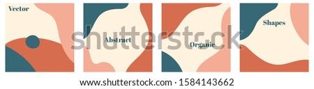 Vector set of minimal square backgrounds with organic abstract shapes and sample text in pastel colors Royalty-Free Stock Photo #1584143662