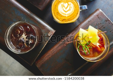 Top angle view of various coffee. #1584200038