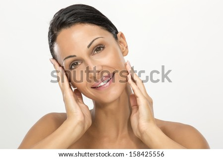 Woman with beauty face and cared skin #158425556