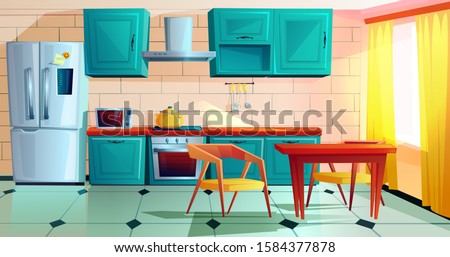 Kitchen interior witn furniture cartoon vector illustration. Home cooking room with wooden dining table, blue kitchen cabinets, fridge with magnet and reminder, oven, microwave, hob and extractor hood Royalty-Free Stock Photo #1584377878
