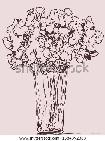 line drawing flower illustration. fashion bloom pattern. #1584392383