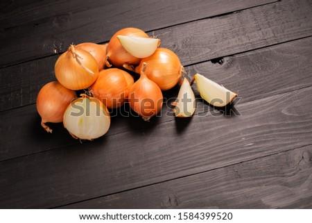 Fresh onions. Onions background. Ripe onions. Onions in market #1584399520