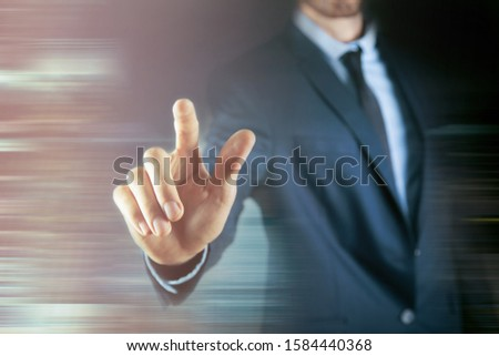 business man presses on touch screen #1584440368