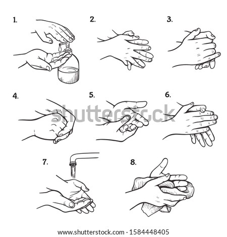 Hand washing instructions black and white illustrations set. Palms and fingers cleaning steps sketches pack. Routine individual hygiene procedure stages drawings. Educational infographic design #1584448405