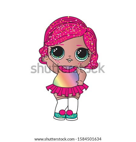 A little girl with glittery pink hair and bright green shoes. LOL doll winter disco. Vector image.