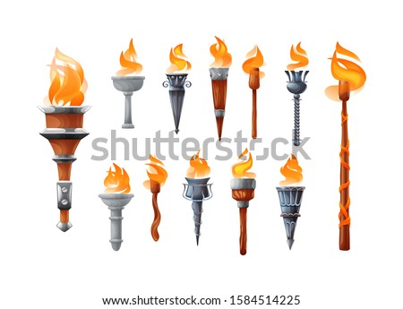 Medieval torch with burning fire set. Ancient realistic metal and wooden torches differents shapes with burned fire flame elements for the game cartoon vector illustration