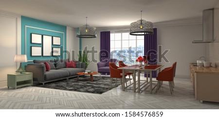 Interior of the living room. 3D illustration. #1584576859