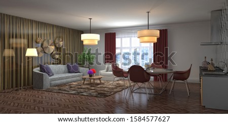 Interior of the living room. 3D illustration. #1584577627