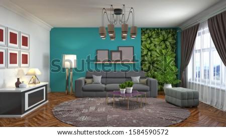 Interior of the living room. 3D illustration. #1584590572