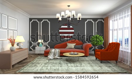 Interior of the living room. 3D illustration. #1584592654