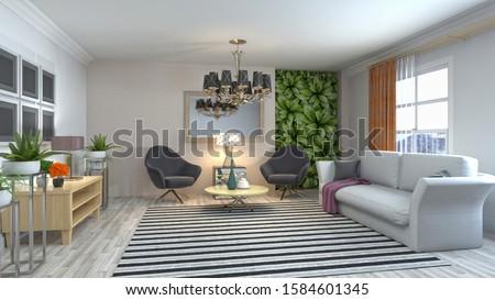 Interior of the living room. 3D illustration. #1584601345