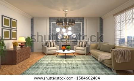 Interior of the living room. 3D illustration. #1584602404