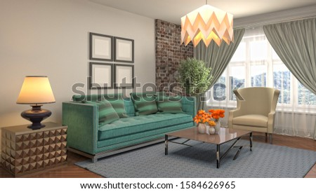 Interior of the living room. 3D illustration. #1584626965