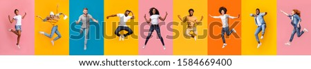 Collage of cheerful multiracial young people jumping over colorful backgrounds, panorama #1584669400