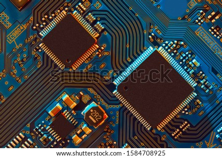 Electronic circuit board close up. #1584708925