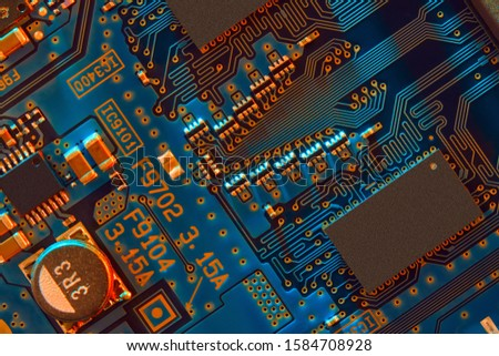 Electronic circuit board close up. #1584708928